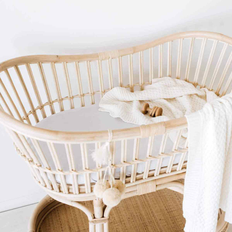 Stone • Fitted Bassinet Sheet / Change Pad Cover
