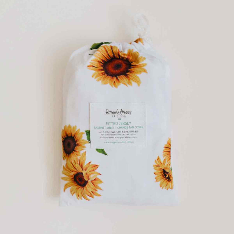Sunflower • Fitted Bassinet Sheet / Change Pad Cover