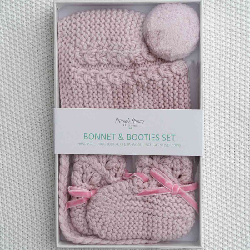Merino Wool Bonnet & Booties • Pink