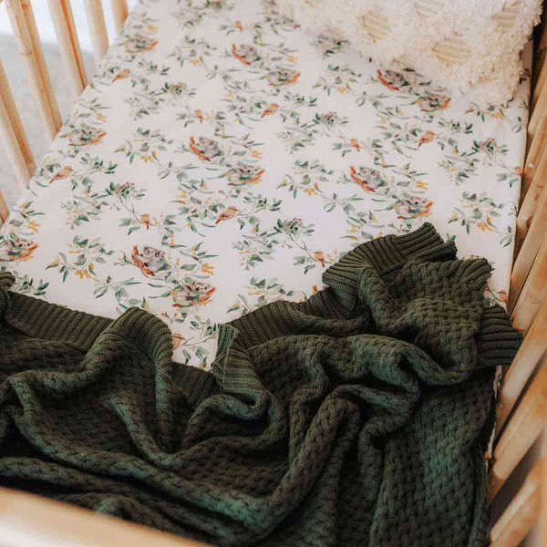 Olive Green • Knit Baby Blanket