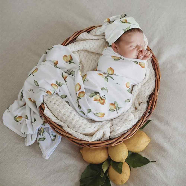 Lemon • Jersey Swaddle & Beanie Set