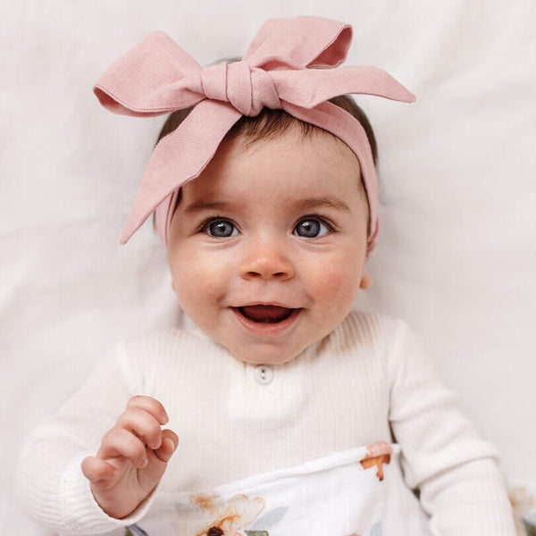Linen Big Bow Headband • Dusty Pink - OH MIA BAMBINA