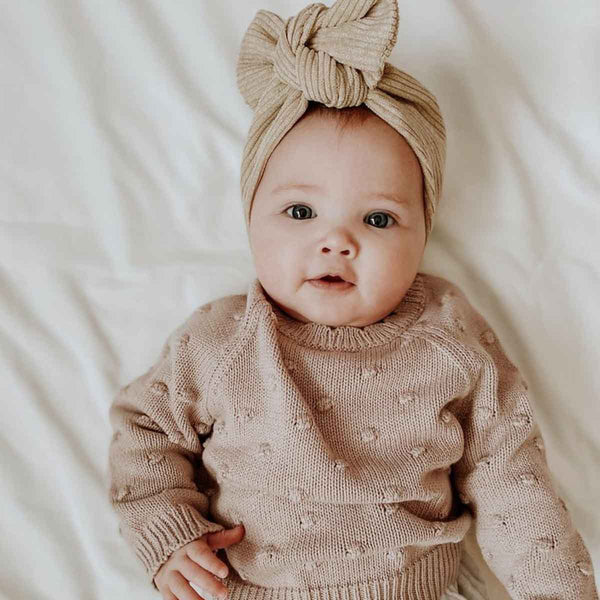 Beige Brown Cord Topknot