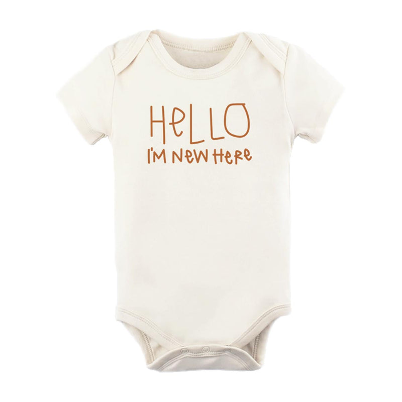 Hello I'm New Here Organic Bodysuit • Rust