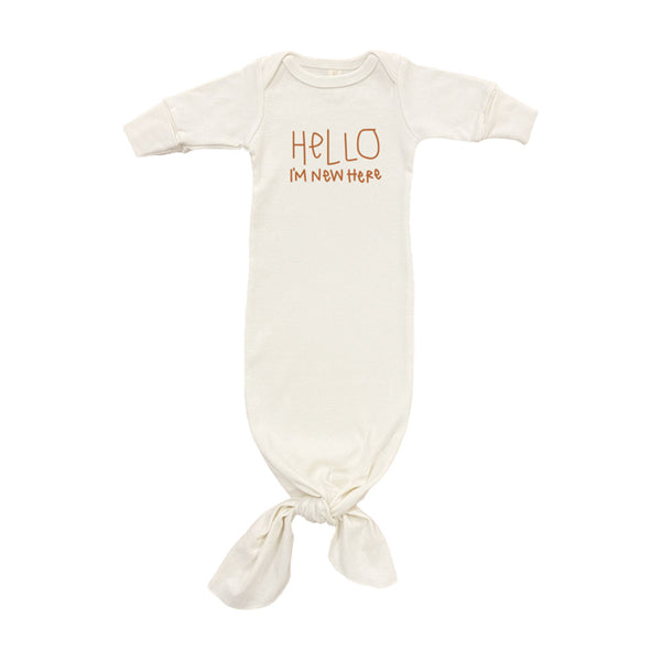 Hello I'm New Here Organic Infant Gown • Rust
