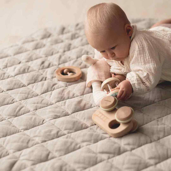 Quilted Linen Baby Play Mat • Natural