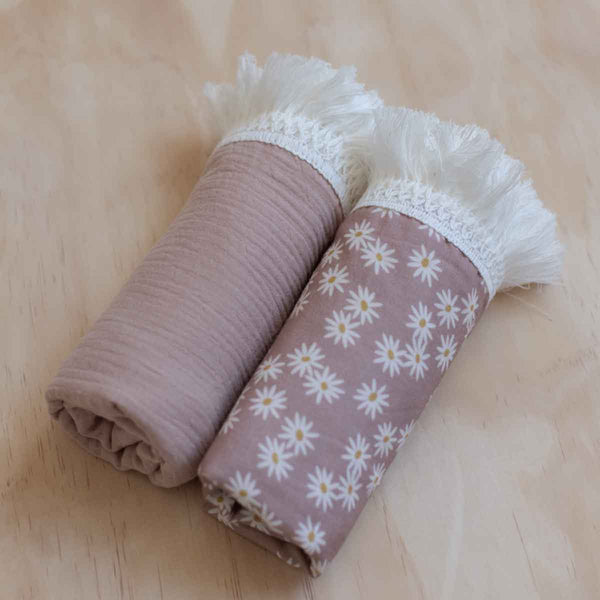Dusty Rose Fringe Swaddle