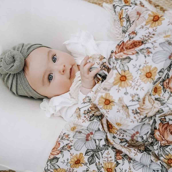 Peach Floral Fringe Swaddle