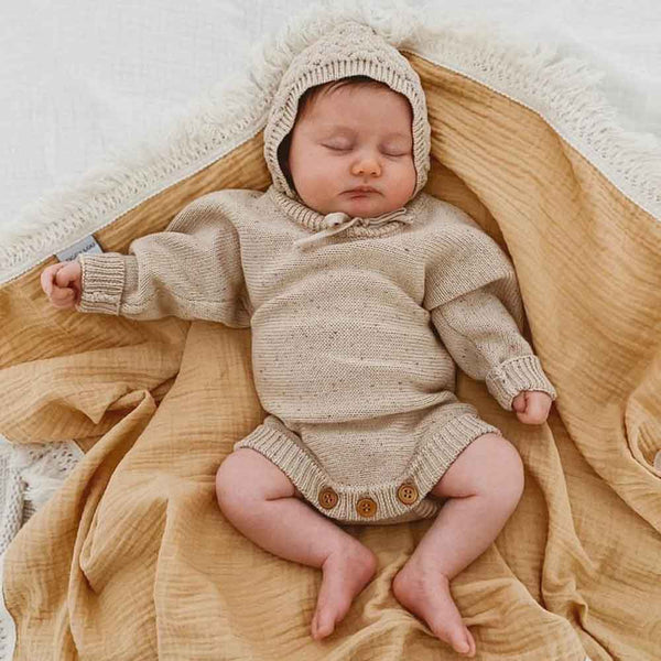 Heirloom Romper & Bonnet • Caramel Fleck