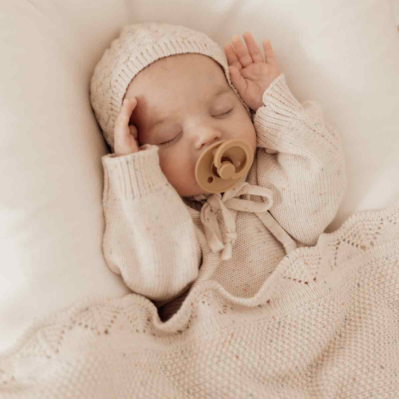 Heirloom Romper & Bonnet • Oatmeal Fleck
