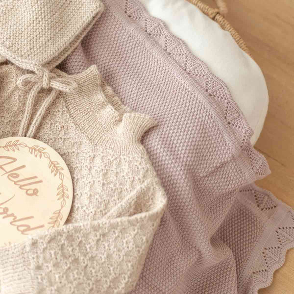 Dusty Rose Knit Baby Blanket