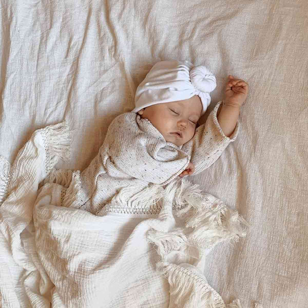 Cream Fringe Swaddle
