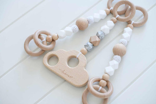 White Luxe Beechwood Play Gym + Accessories
