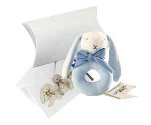 Baby Gift Soft Toy Ring Rattle (Organic) - Blue - Oscar the Bunny