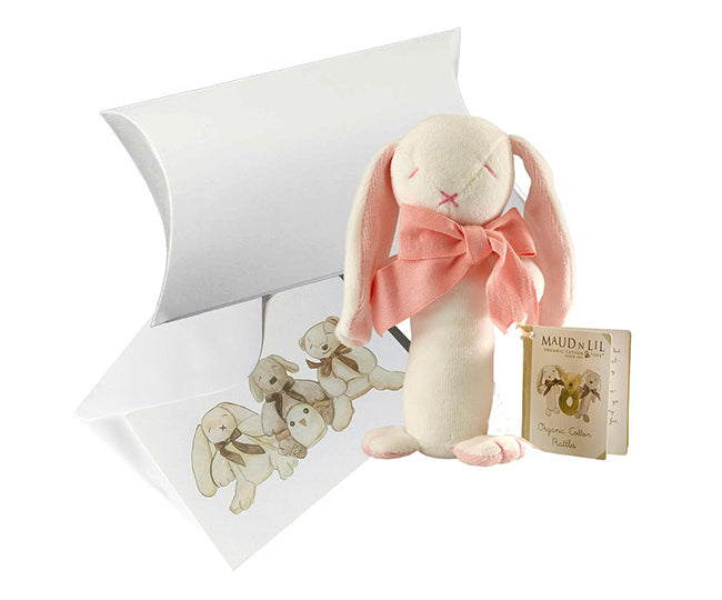 Baby Gift Soft Toy Stick Rattle (Organic) - Rose The Bunny