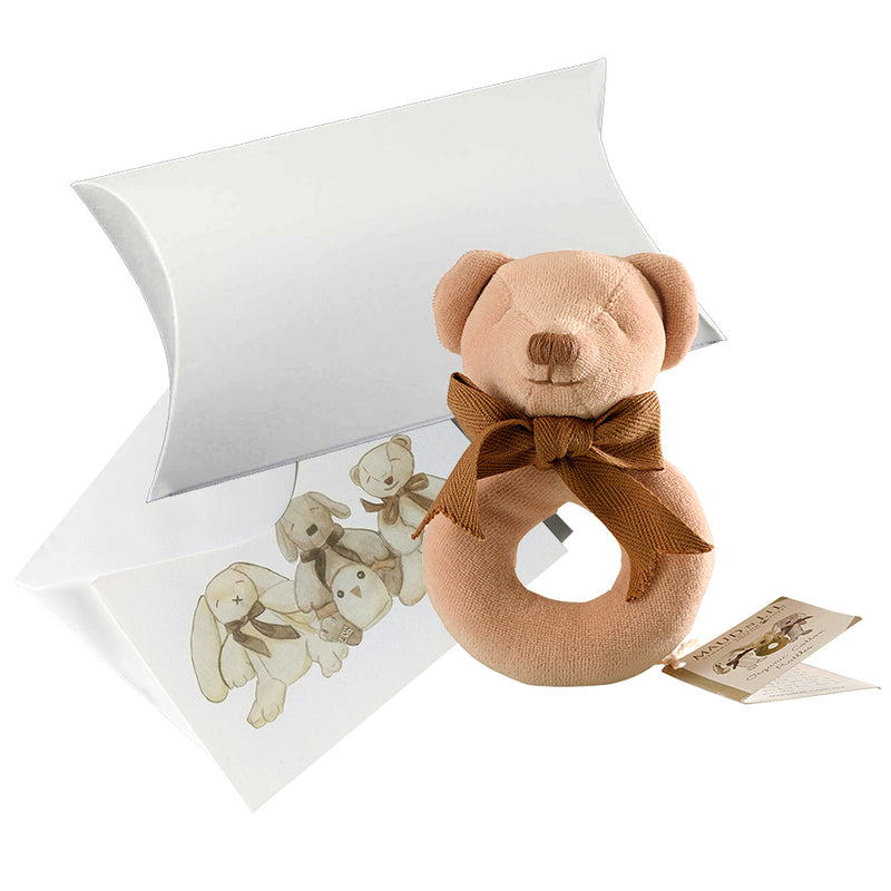 Baby Soft Toy Ring Rattle (Organic) - Cubby the Teddy Bear
