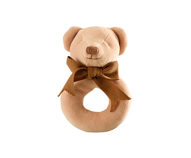 Cubby the Teddy Bear Donut Rattle – Maud n Lil Organic Cotton Toys Front