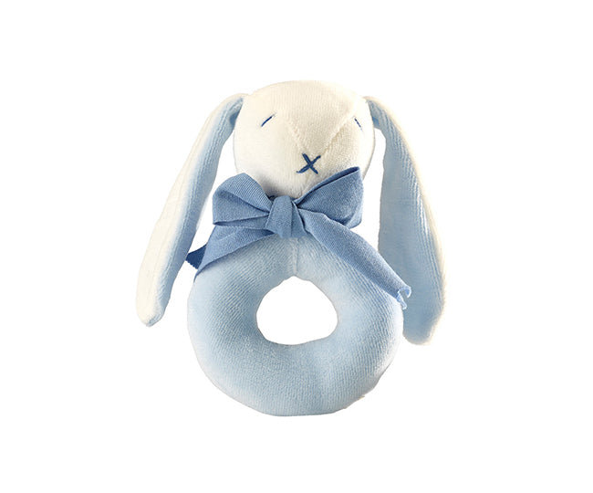 Organic Oscar the Bunny the Donut Rattle Blue – Maud n Lil Organic Cotton Toys Front