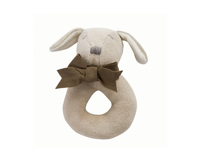 Baby Gift Soft Ring Rattle (Organic) - Grey - Paws the Puppy