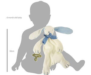 Baby Soft Toy Comforter/ Dou Dou (Organic) - Blue - Oscar The Bunny