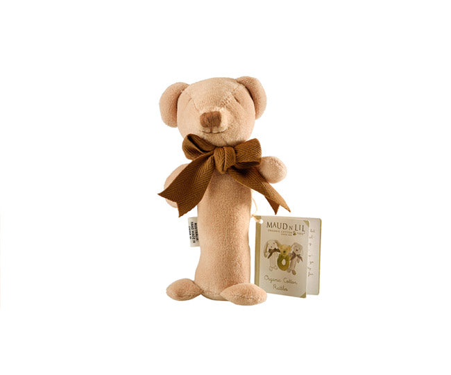 Organic Cubby the Teddy Bear Stick Rattle - Maud N Lil Organic Cotton Toys