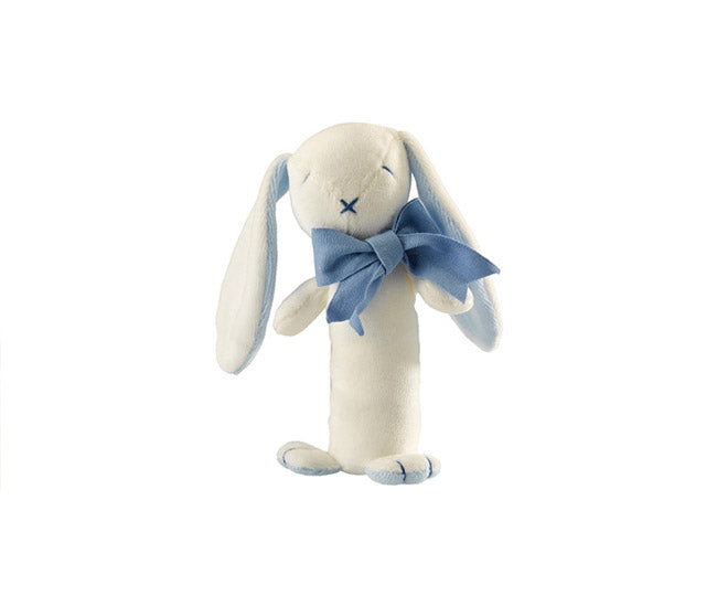 Organic Oscar the Bunny the Stick Rattle Blue – Maud n Lil Organic Cotton Toys
