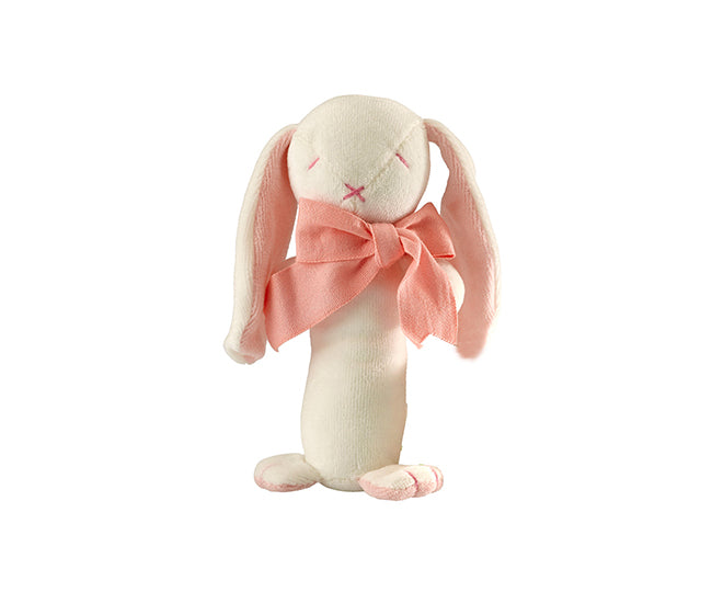 Rose the Bunny Stick Rattle – Maud n Lil Organic Cotton Toys Front