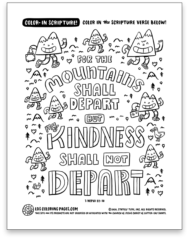 My Kindness Shall Not Depart (3 Nephi 22:10) - Color-in Scripture