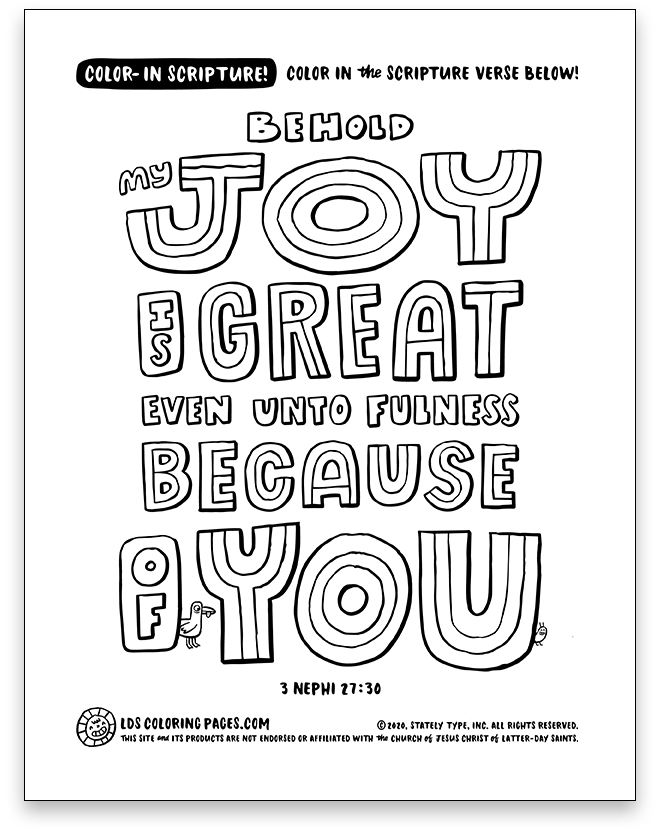 Behold My Joy is Great (3 Nephi 27:30) - Color-in Scripture