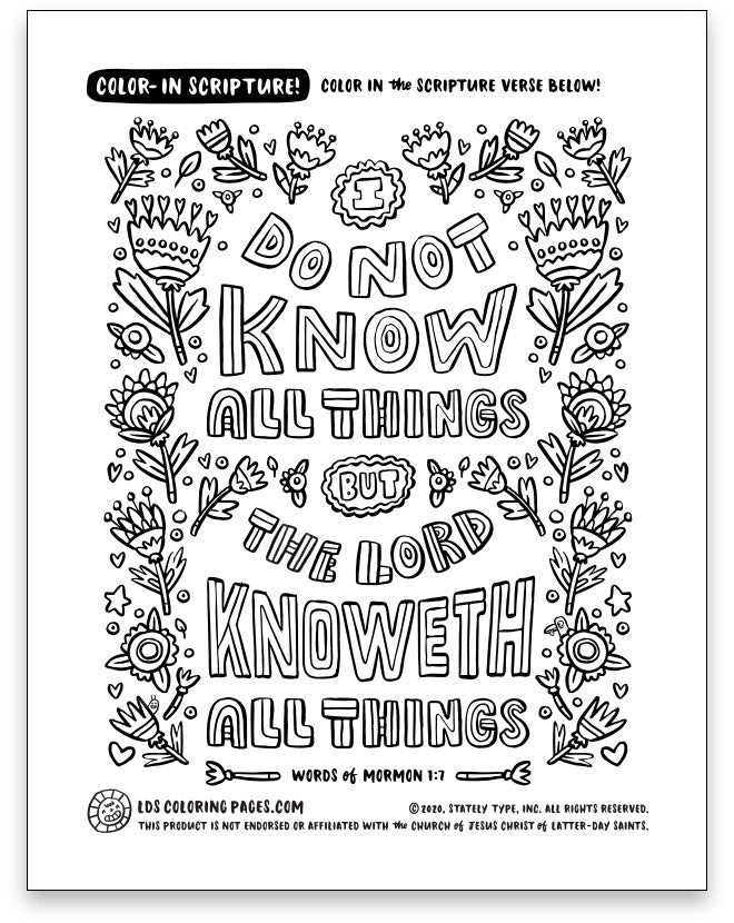 The Lord Knoweth All Things - Color-in Scripture