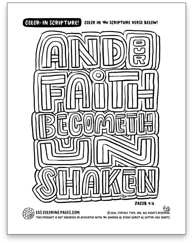 And Our Faith Becometh Unshaken - Color-in Scripture