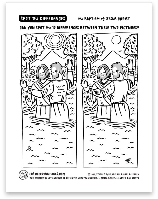 Baptism Of Jesus Christ Spot The Differences Lds Coloring Pages