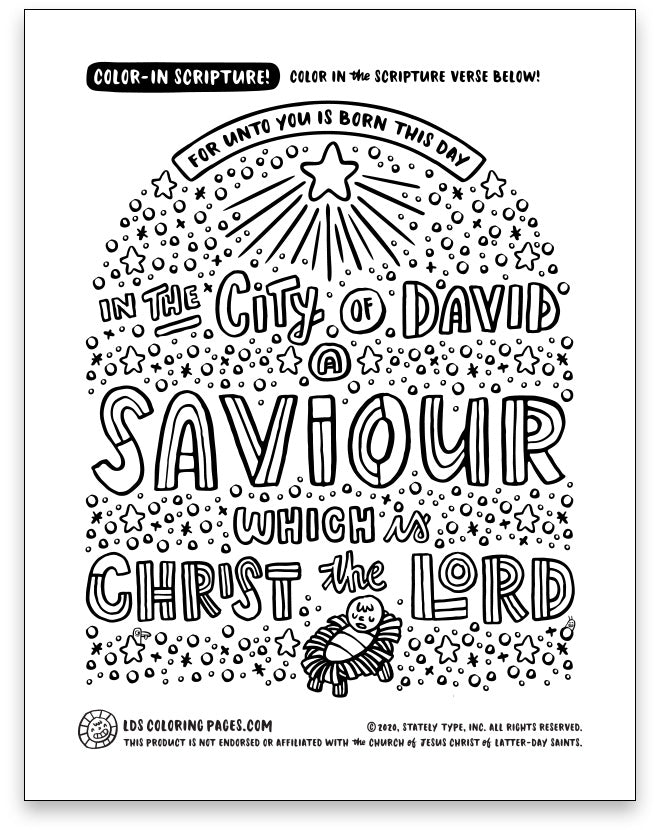 Jesus Christmas Nativity - Color-in Scripture