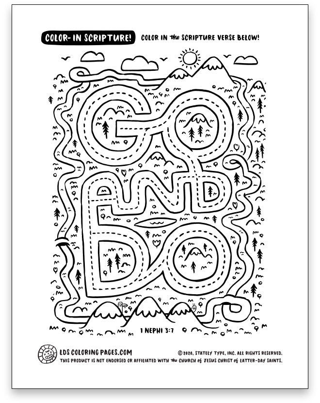Go And Do 1 Nephi 3 7 Color In Scripture Lds Coloring Pages