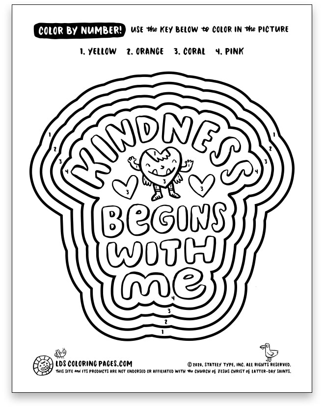 Kindness Begins With Me - Color By Number – LDS Coloring Pages