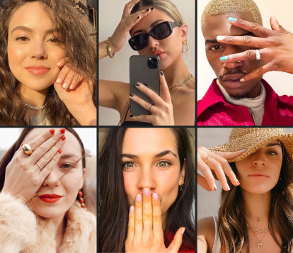 Collage of five women and one man showing off different manicures in various poses