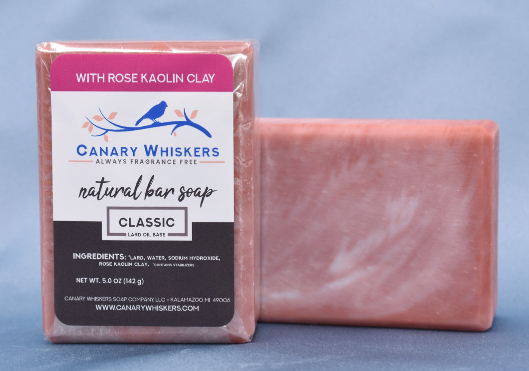 Classic rose kaolin clay gently swirled bar soap