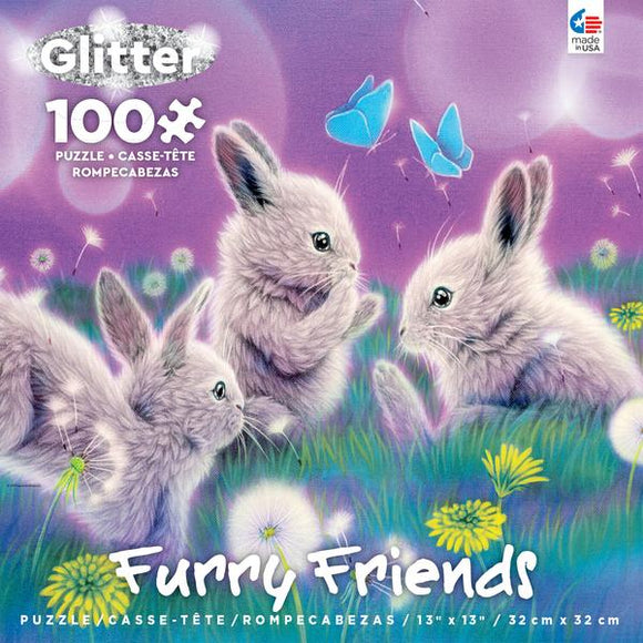 Furry Friends (assorted 100 pc glitter puzzles)