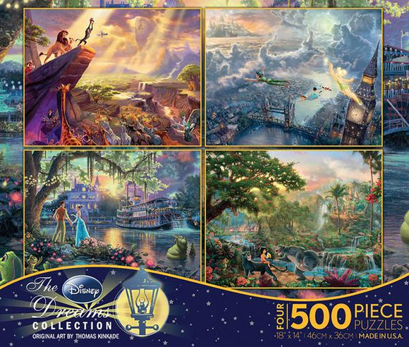Thomas Kinkade The Disney Collection 4 in 1 Multipack - The Lion King, Peter Pan, The Princess & The Frog, and The Jungle Book
