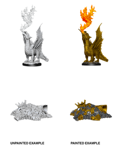 D&D Nolzur's Marvelous Unpainted Miniatures: W11 Gold Dragon Wyrmling & Small Treasure Pile