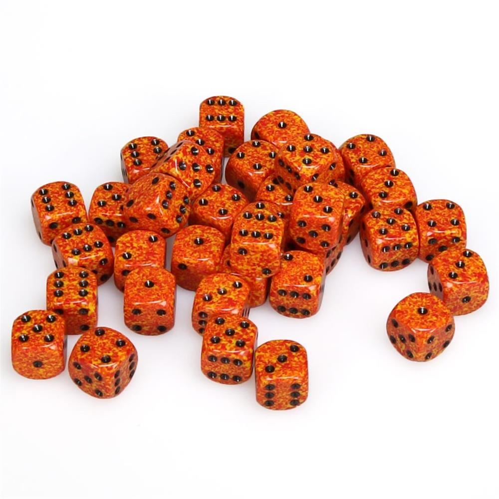 Set of 36 Chessex 12mm d6 Speckled Fire Dice Block