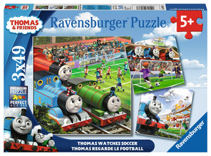 Thomas & Friends: Thomas Watches Soccer (3 x 49 pc puzzle)