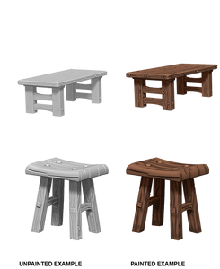 Pathfinder Deep Cuts Unpainted Miniatures: W4 Wooden Table & Stools