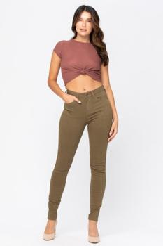 Judy Blue High Wasted Olive Skinny Jeans