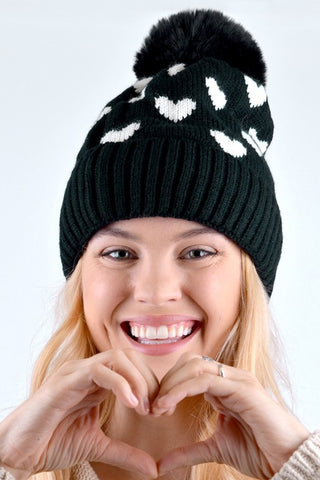 Heart Pom Pom Knit Winter Hat