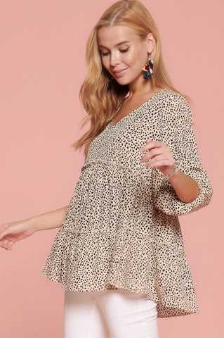 Ditzy Dot Printed Woven Babydoll Top