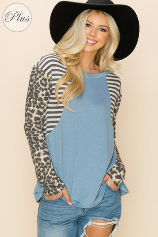 Dusty Blue Cheetah Top