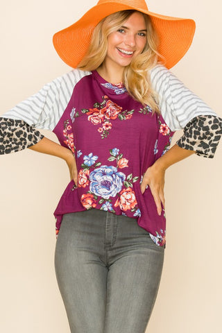 Floral Top w/stripe sleeves