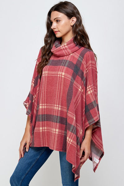 BRUSHED CASHMERE PLAID COWL NECK PONCHO