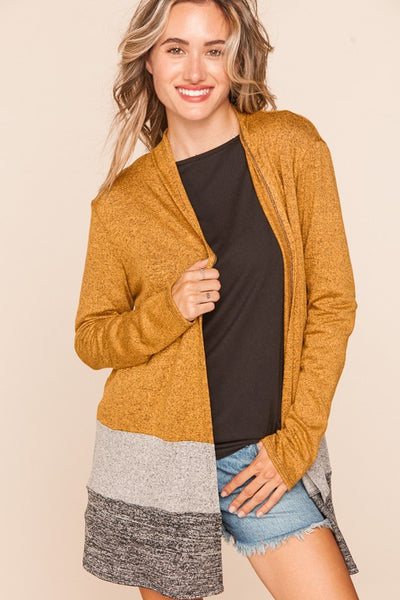 Two Tone Hacci Color Block Open Cardigan